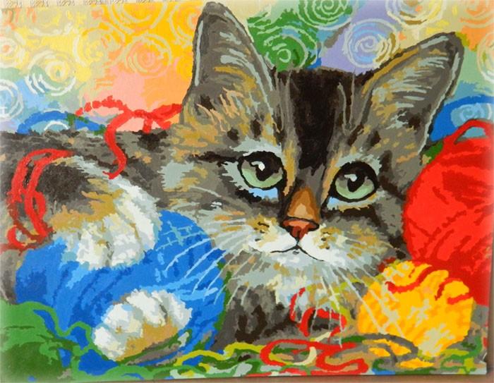Раскраски по номерам на холсте с котами